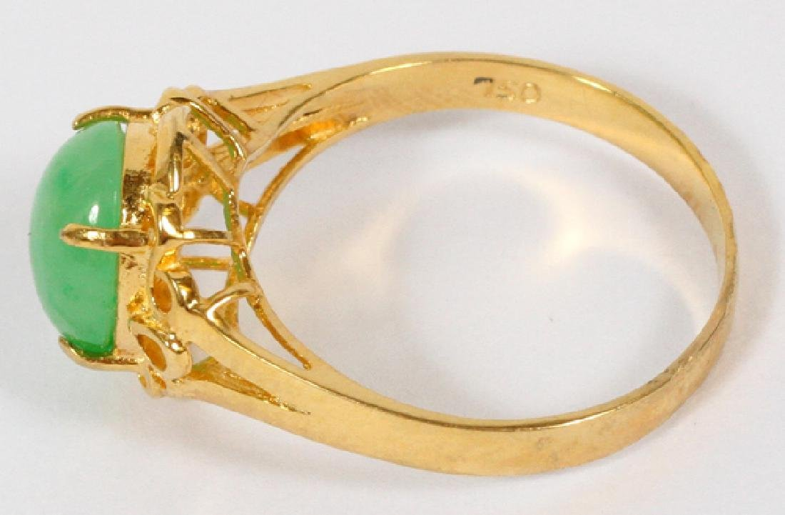 18KT YELLOW GOLD & JADE RING - 2