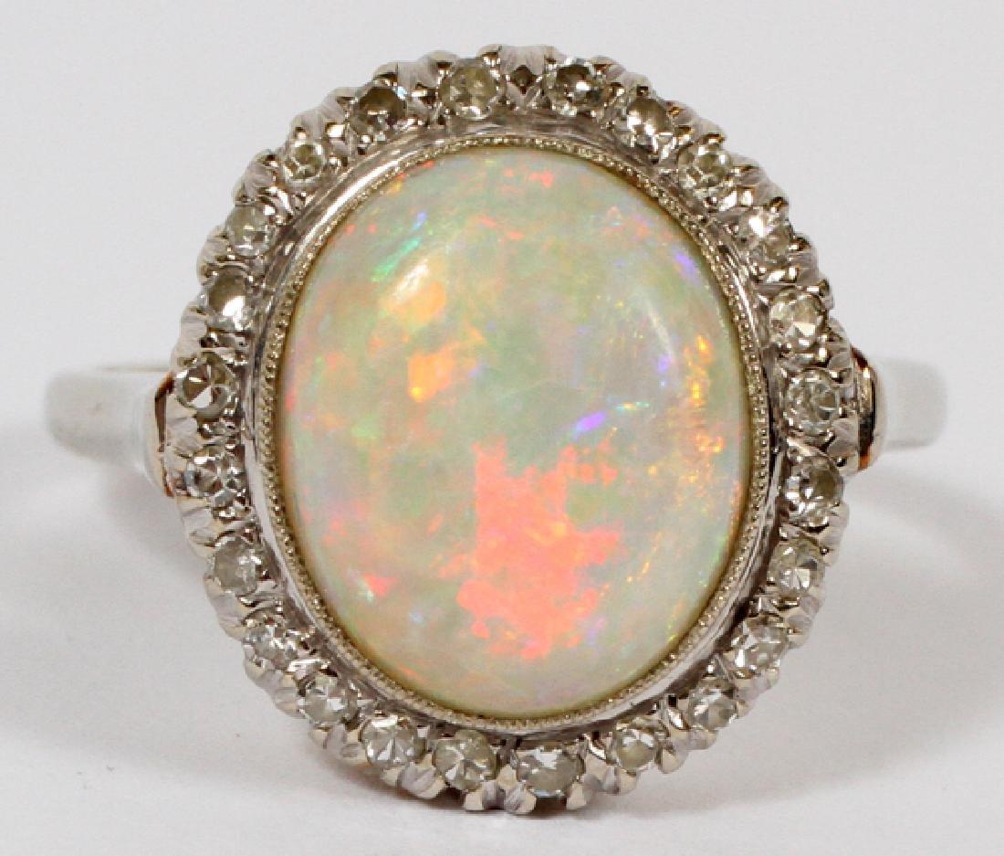 14KT WHITE GOLD OPAL & DIAMOND RING