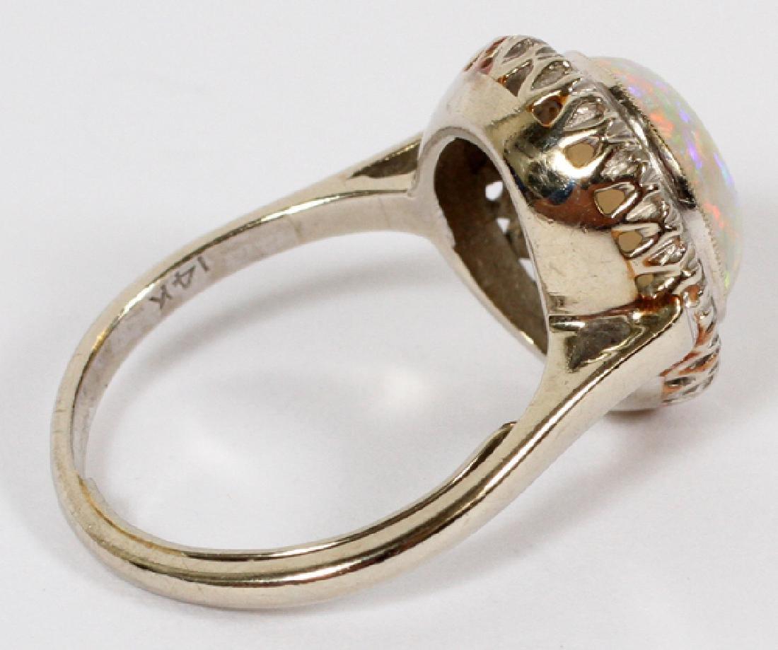 14KT WHITE GOLD OPAL & DIAMOND RING - 2