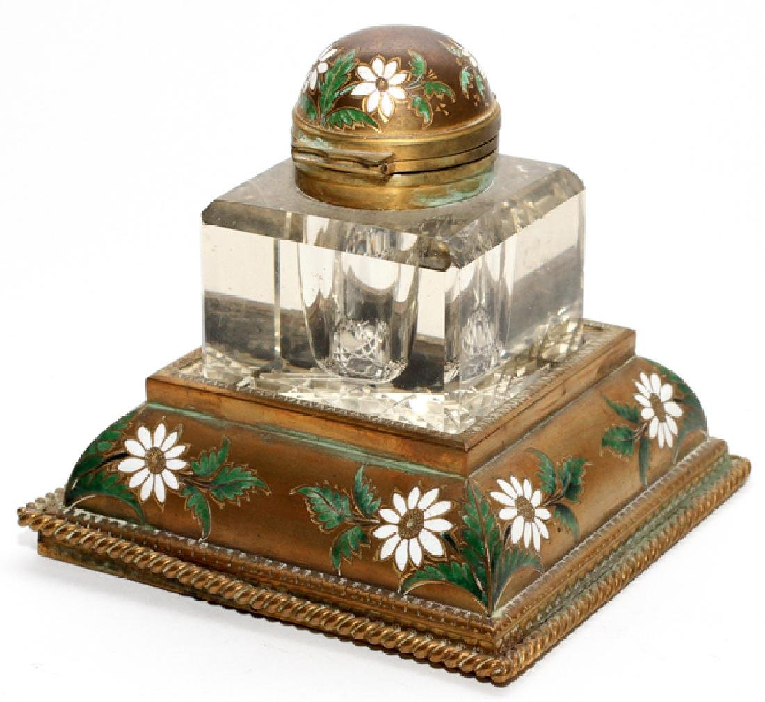 CONTINENTAL HAND PAINTED METAL AND GLASS INKWELL
