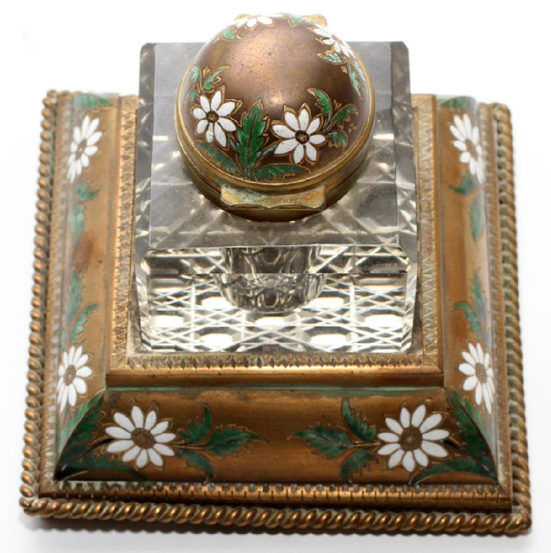 CONTINENTAL HAND PAINTED METAL AND GLASS INKWELL - 2