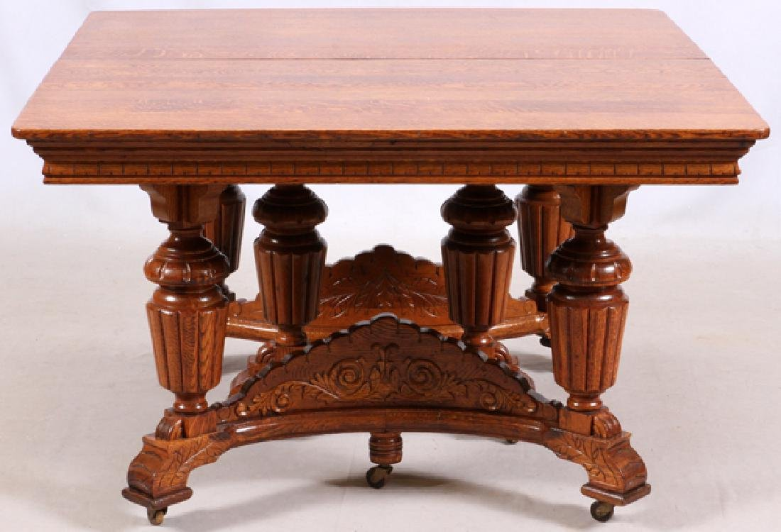 VICTORIAN OAK TABLE AND PRESSED BACK CHAIRS C.1900 - 3