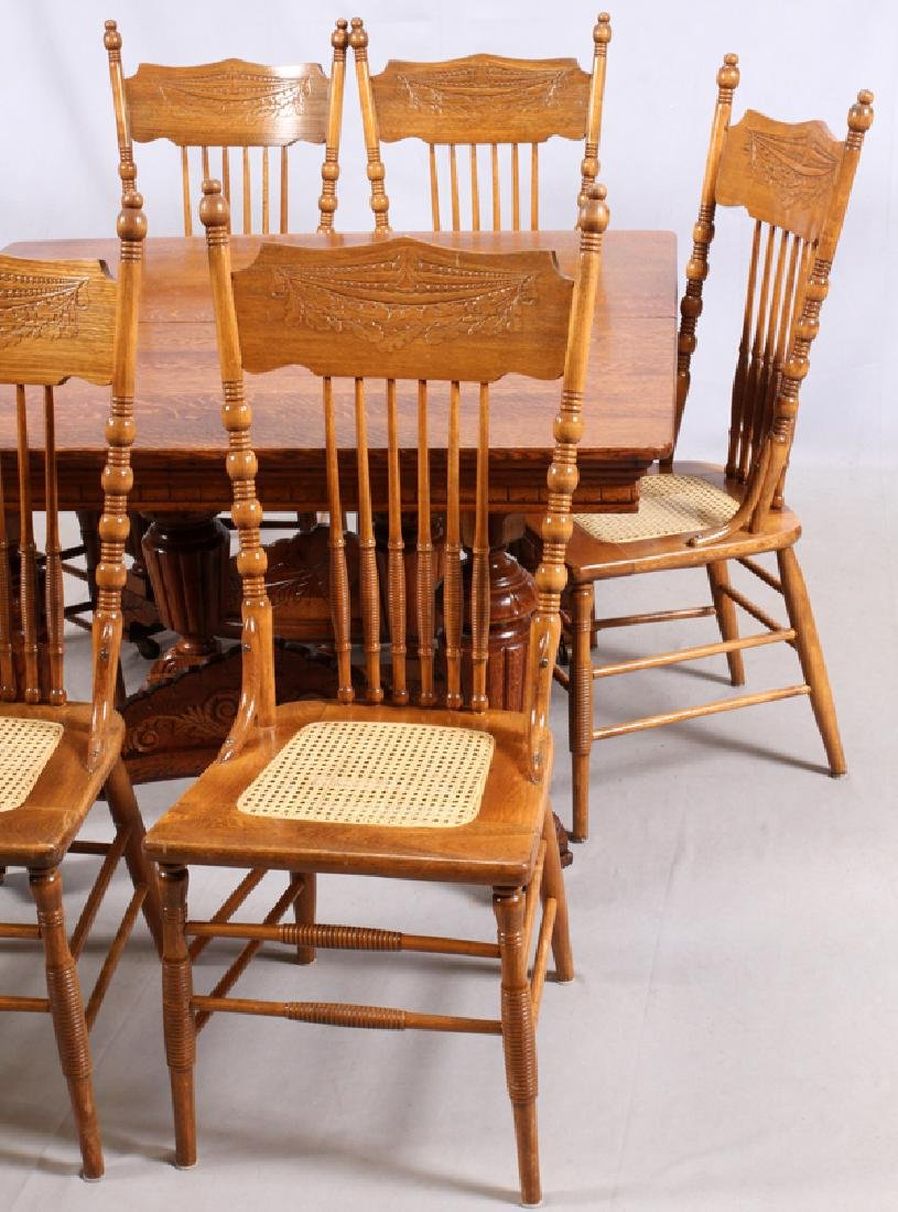 VICTORIAN OAK TABLE AND PRESSED BACK CHAIRS C.1900 - 4