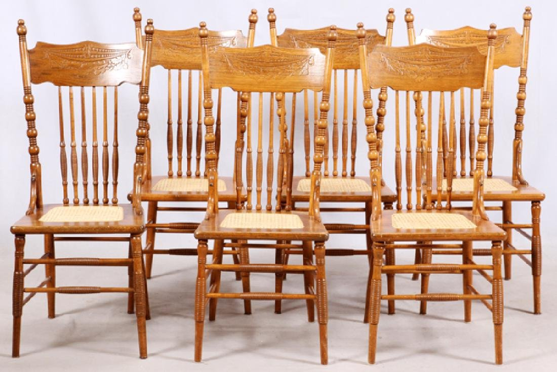 VICTORIAN OAK TABLE AND PRESSED BACK CHAIRS C.1900 - 5