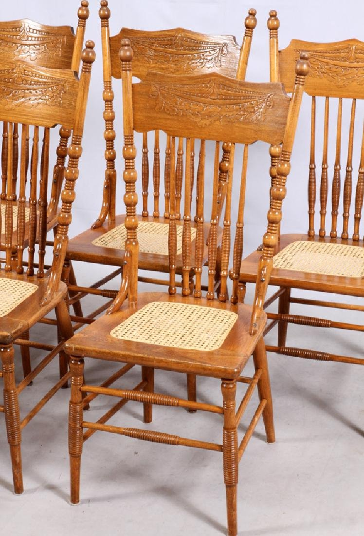 VICTORIAN OAK TABLE AND PRESSED BACK CHAIRS C.1900 - 6