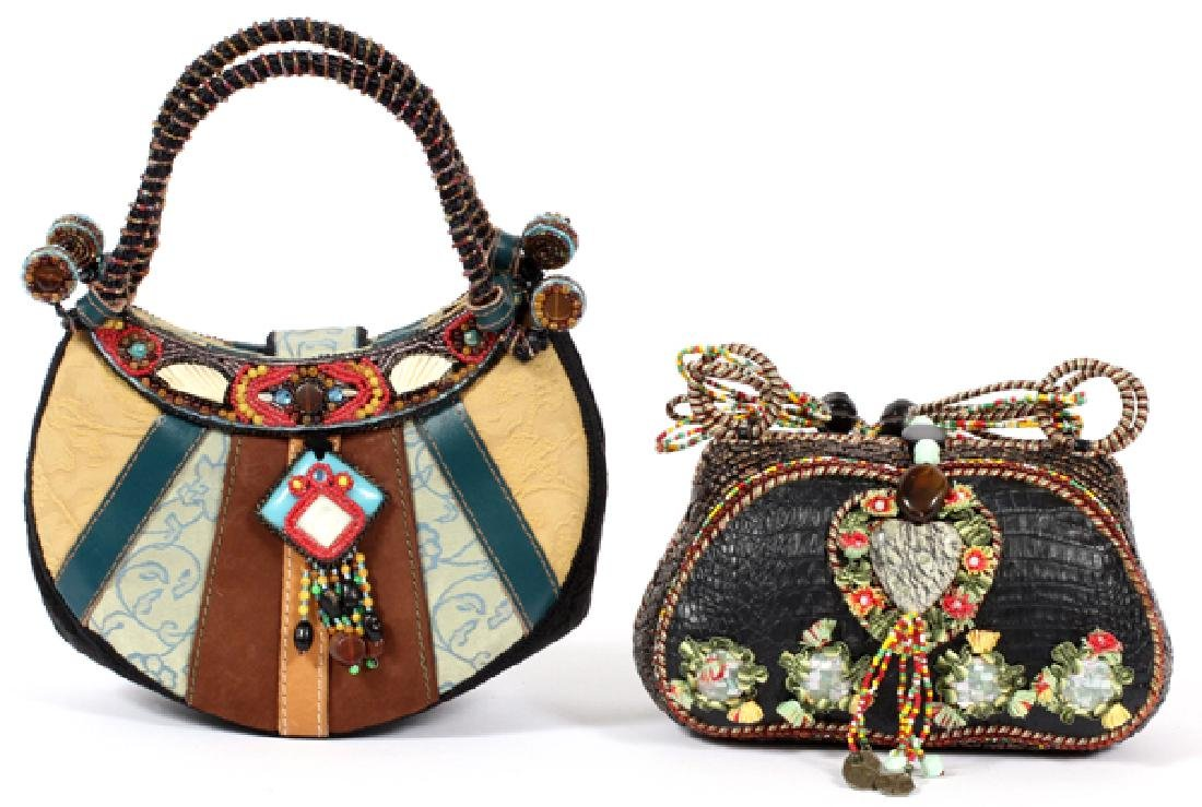 MARY FRANCES MULTICOLORED LEATHER AND FABRIC BAGS