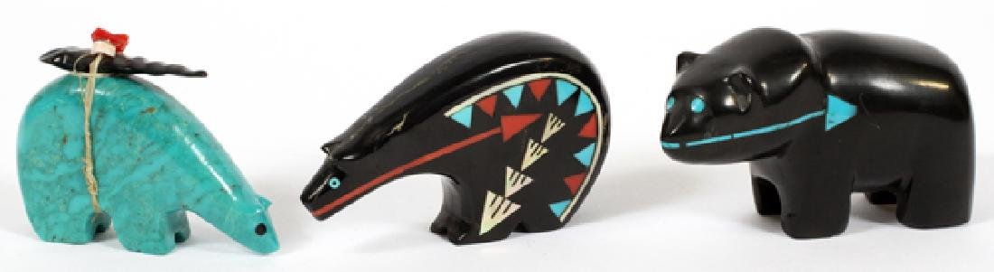 NATIVE AMERICAN INLAID BEAR FETISHES 3 ITEMS