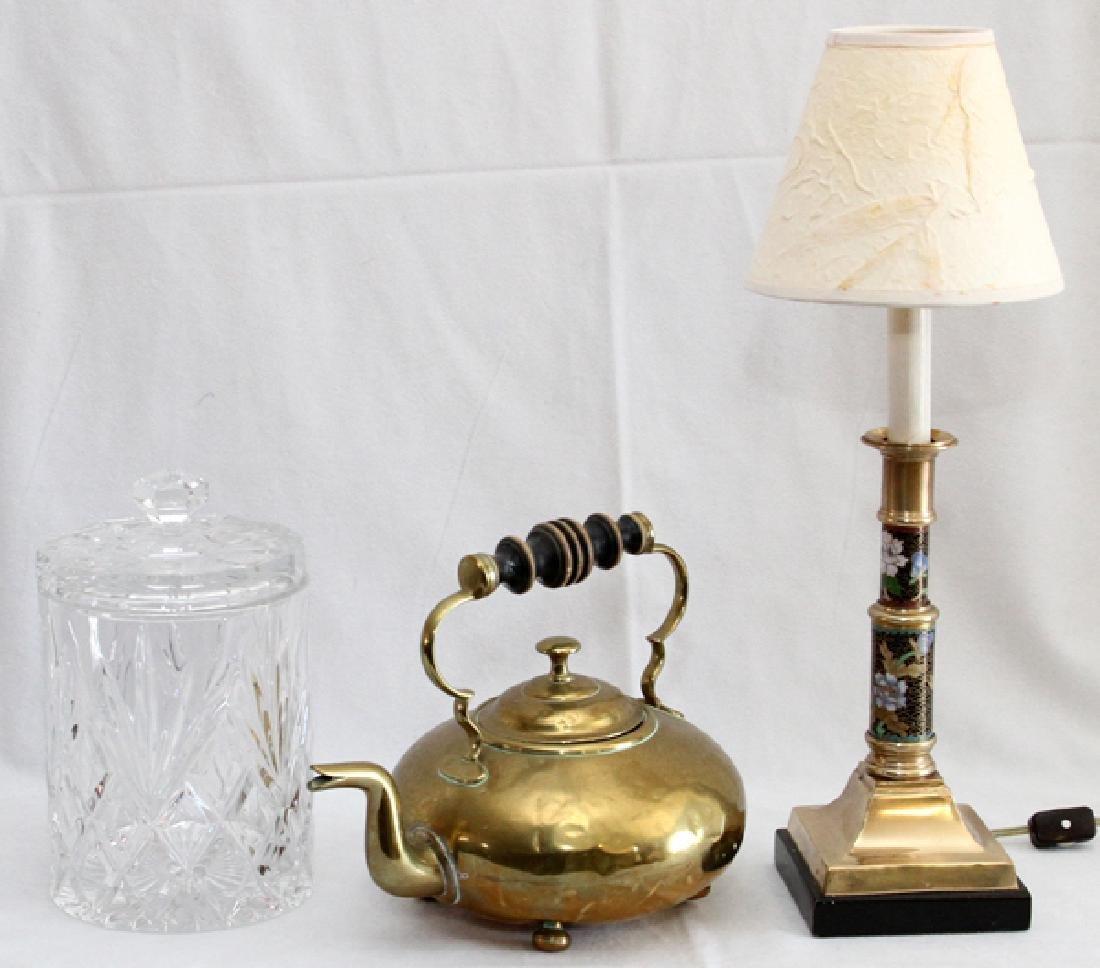 CLOISONNE & BRASS CANDLESTICK LAMP, TEAPOT
