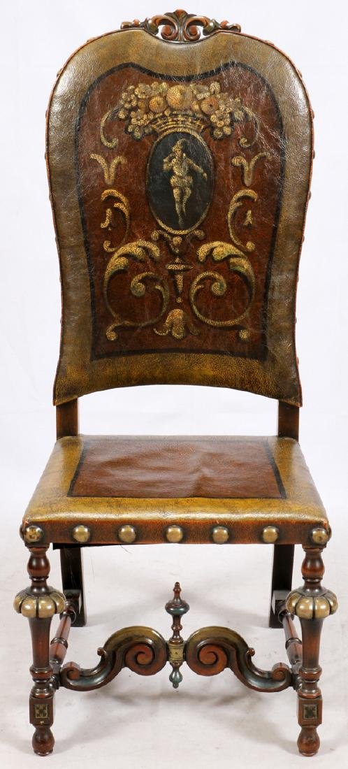 FLEMISH STYLE CARVED WALNUT & LEATHER CHAIR