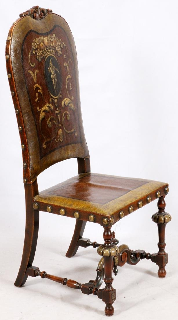 FLEMISH STYLE CARVED WALNUT & LEATHER CHAIR - 2