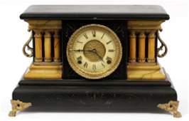 WILLIAM L. GILBERT PAINTED WOOD MANTEL CLOCK C 1870