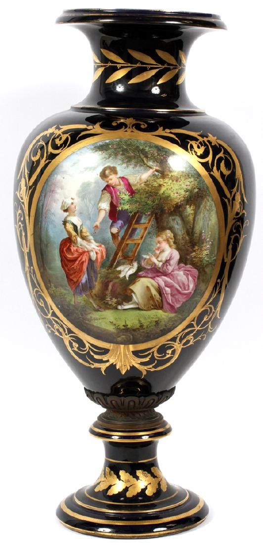 SEVRES QUALITY FRENCH HAND PAINTED PORCELAIN VASE