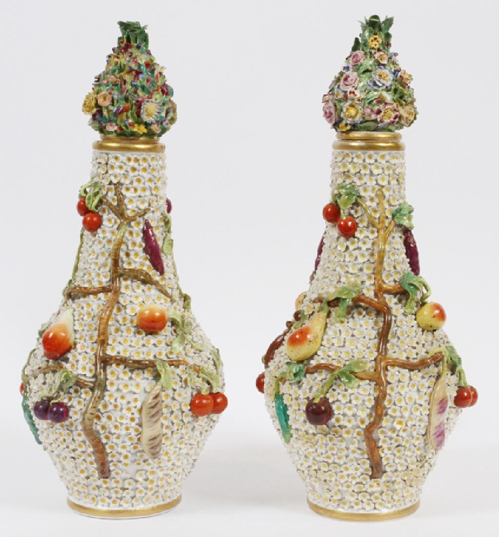 MEISSEN SNOWBALL PORCELAIN COVERED VASES PAIR