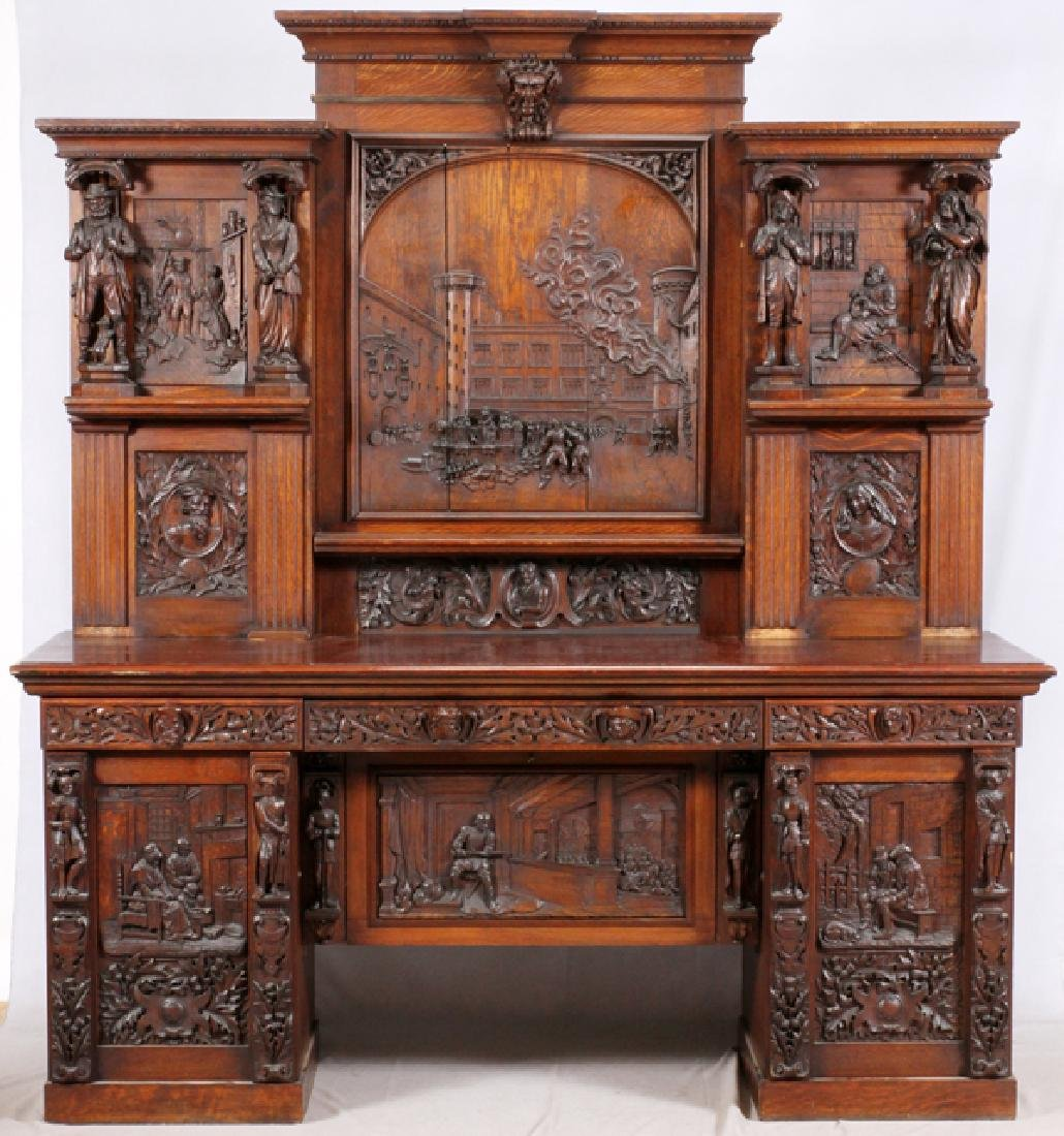 BELGIAN CARVED OAK BUFFET 19TH C