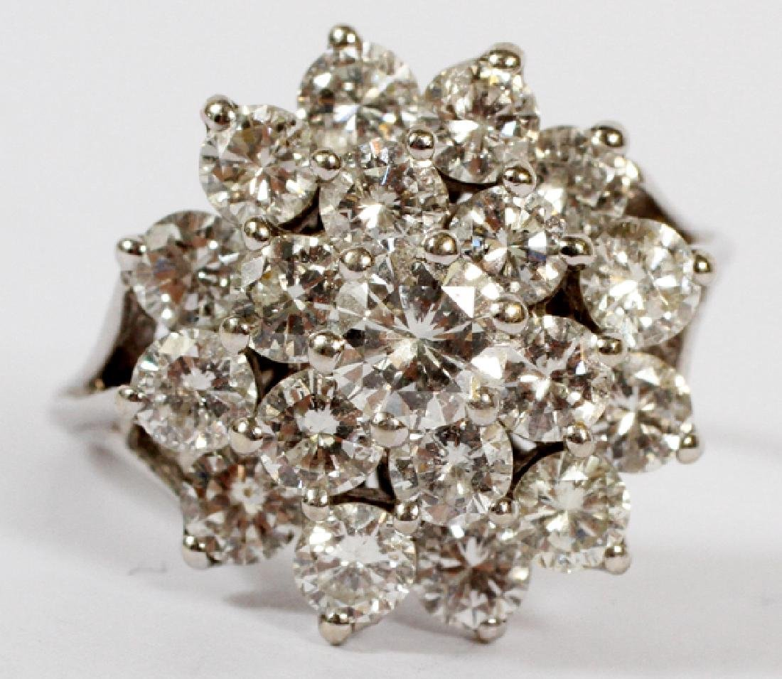 DIAMOND COCKTAIL RING 14KT WHITE GOLD CIRCA 1950