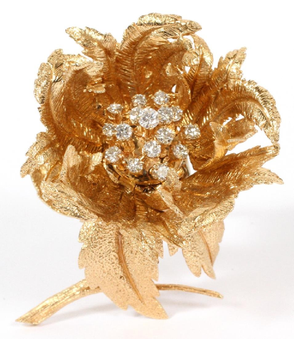 ROBERT ALTMAN ADJUSTABLE GOLD & DIAMOND BROOCH