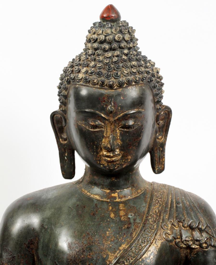 CHINESE BRONZE W/ GOLD HIGHLIGHTS BUDDHA - 2