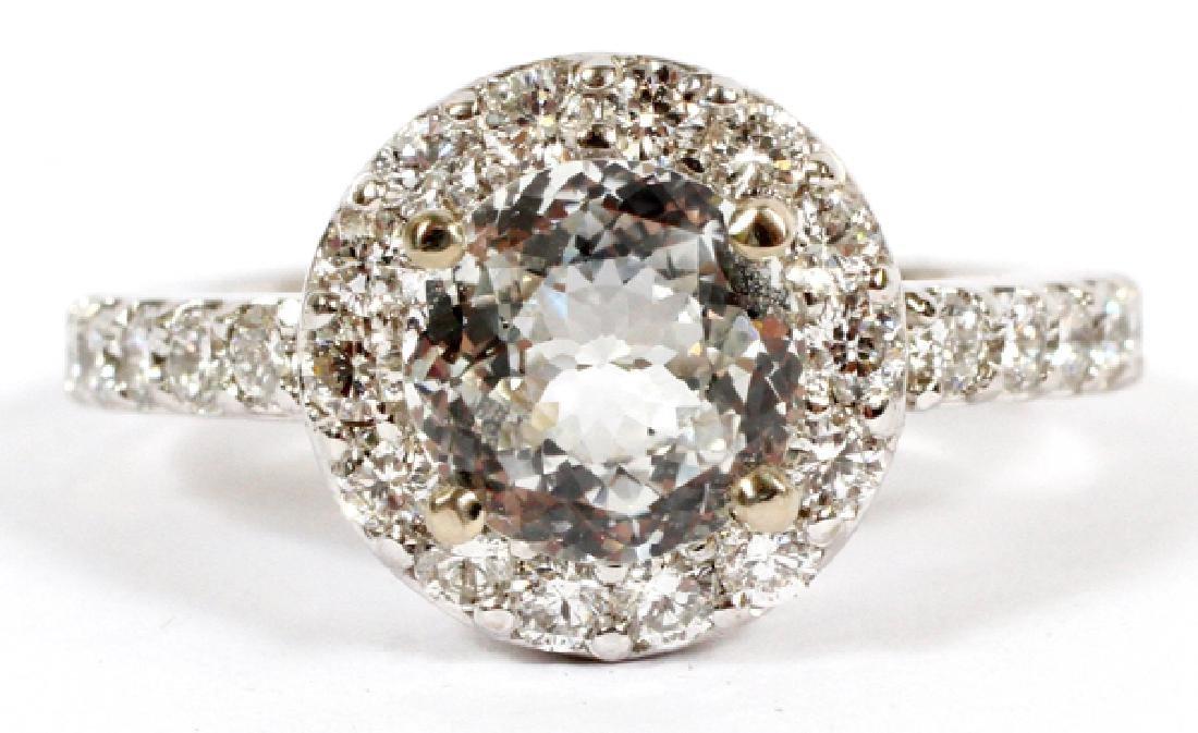 2.18CT WHITE SAPPHIRE & 1.10CT DIAMOND RING