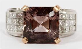 TOURMALINE DIAMOND & PLATINUM RING
