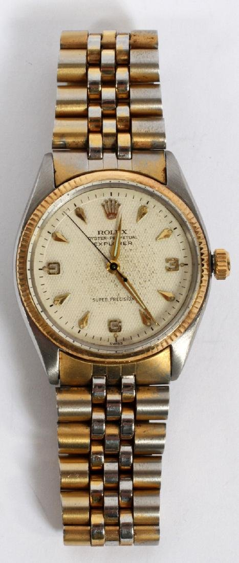 ROLEX OYSTER PERPETUAL STAINLESS AND GOLD WATCH