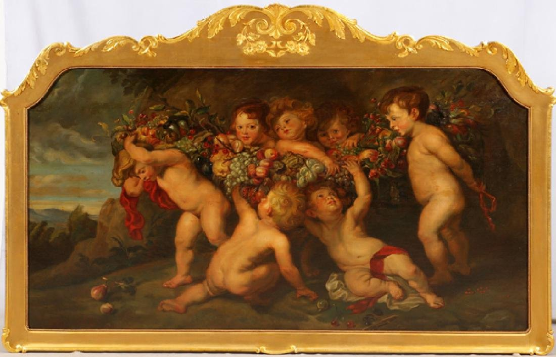 PAINTING ON CANVAS SCENE OF CHERUBS ON CANVAS
