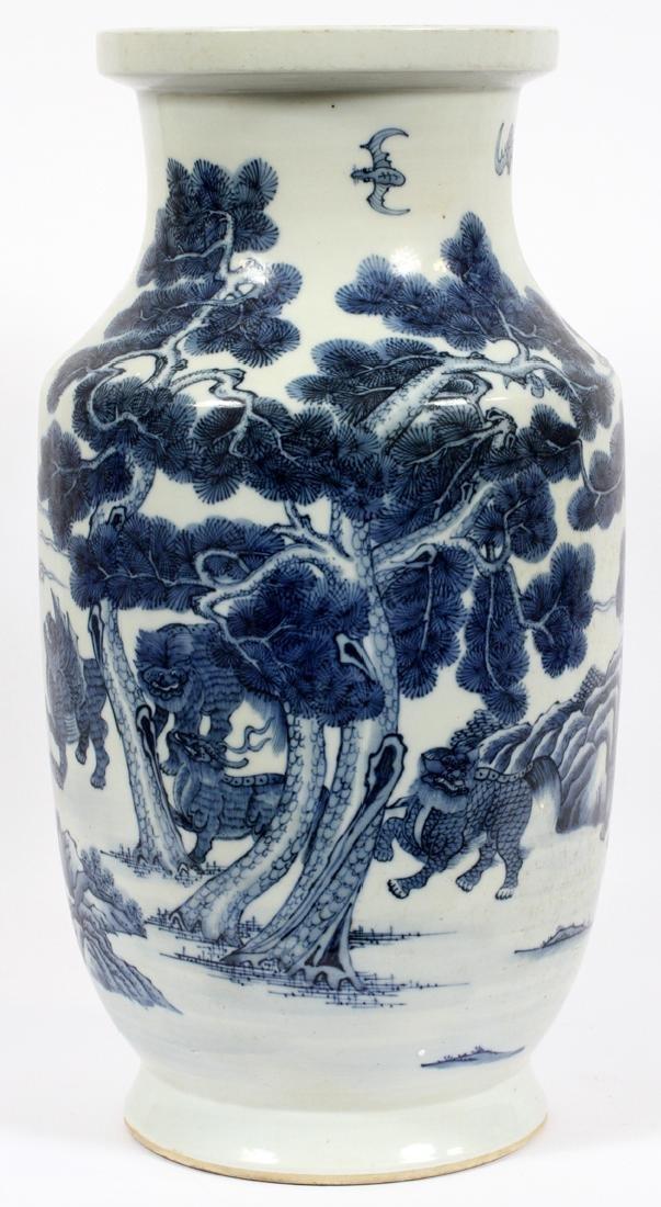 CHINESE BLUE AND WHITE PORCELAIN LARGE VASE