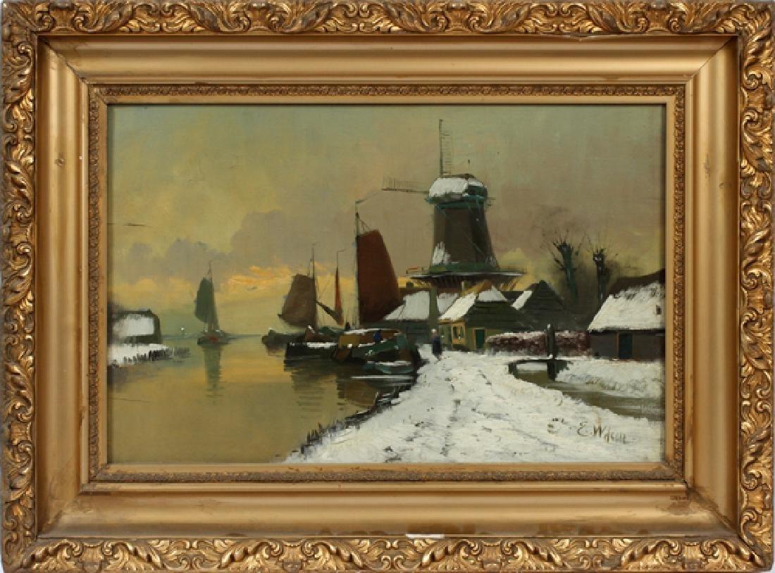 ILLEGIBLY SIGNED DUTCH OIL ON BOARD C. 1880-1910