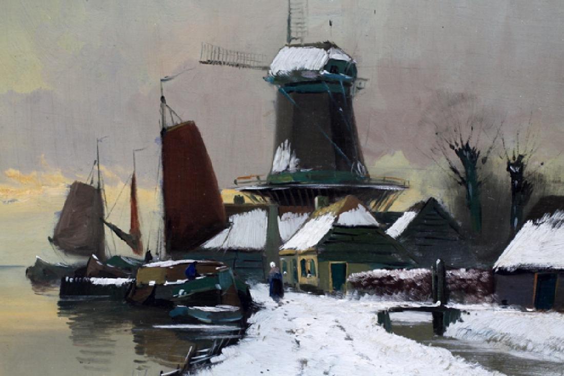 ILLEGIBLY SIGNED DUTCH OIL ON BOARD C. 1880-1910 - 2