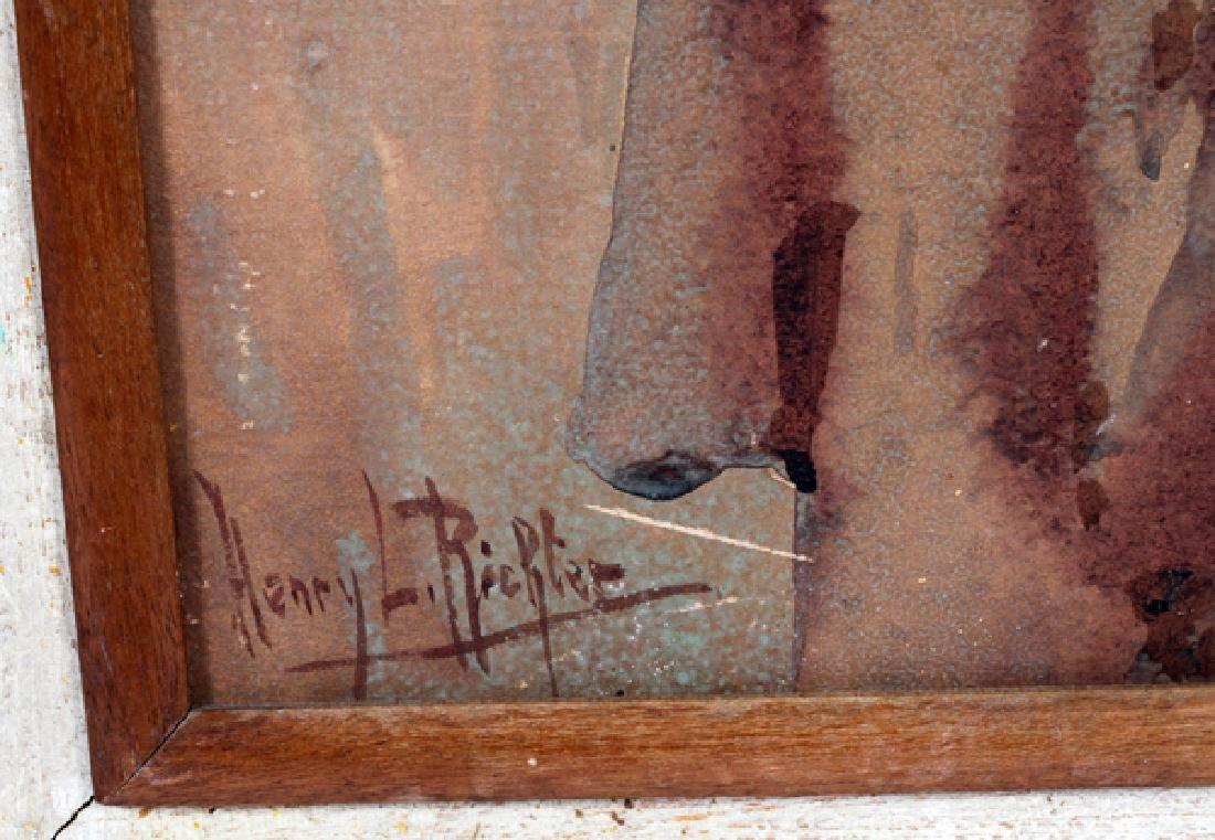 HENRY LEOPOLD RICHTER WATERCOLOR GIRL W/ WATER JUG - 2