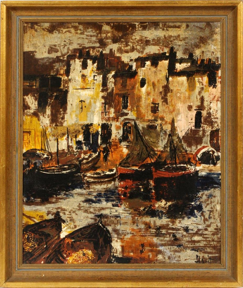 HOYT IMPRESSIONIST OIL ON CANVAS BOATS IN HARBOR