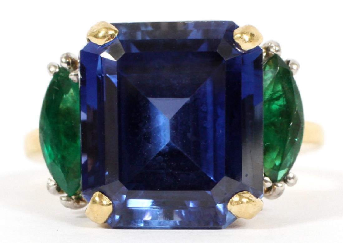 10.50CT LAB SAPPHIRE & 1.02 NATURAL EMERALD RING