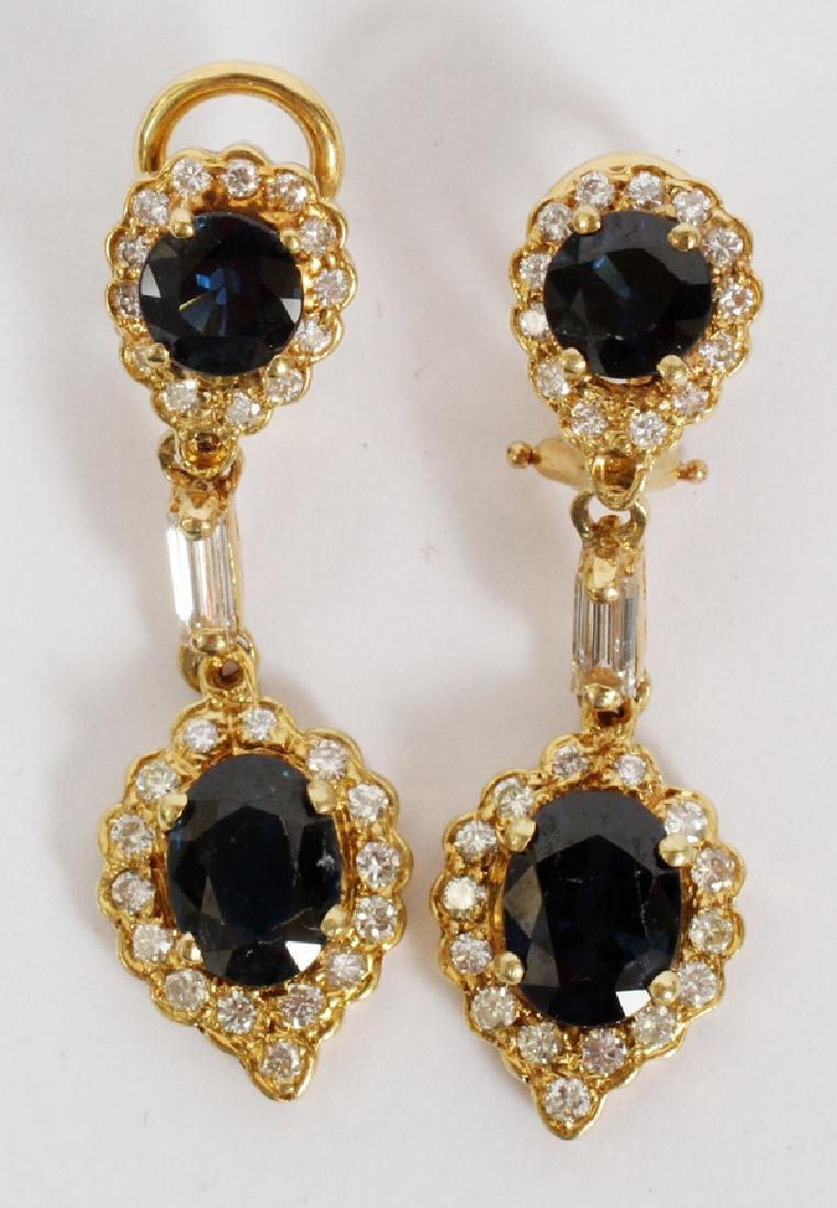 SAPPHIRE AND DIAMOND 14 KT GOLD EARRINGS PAIR