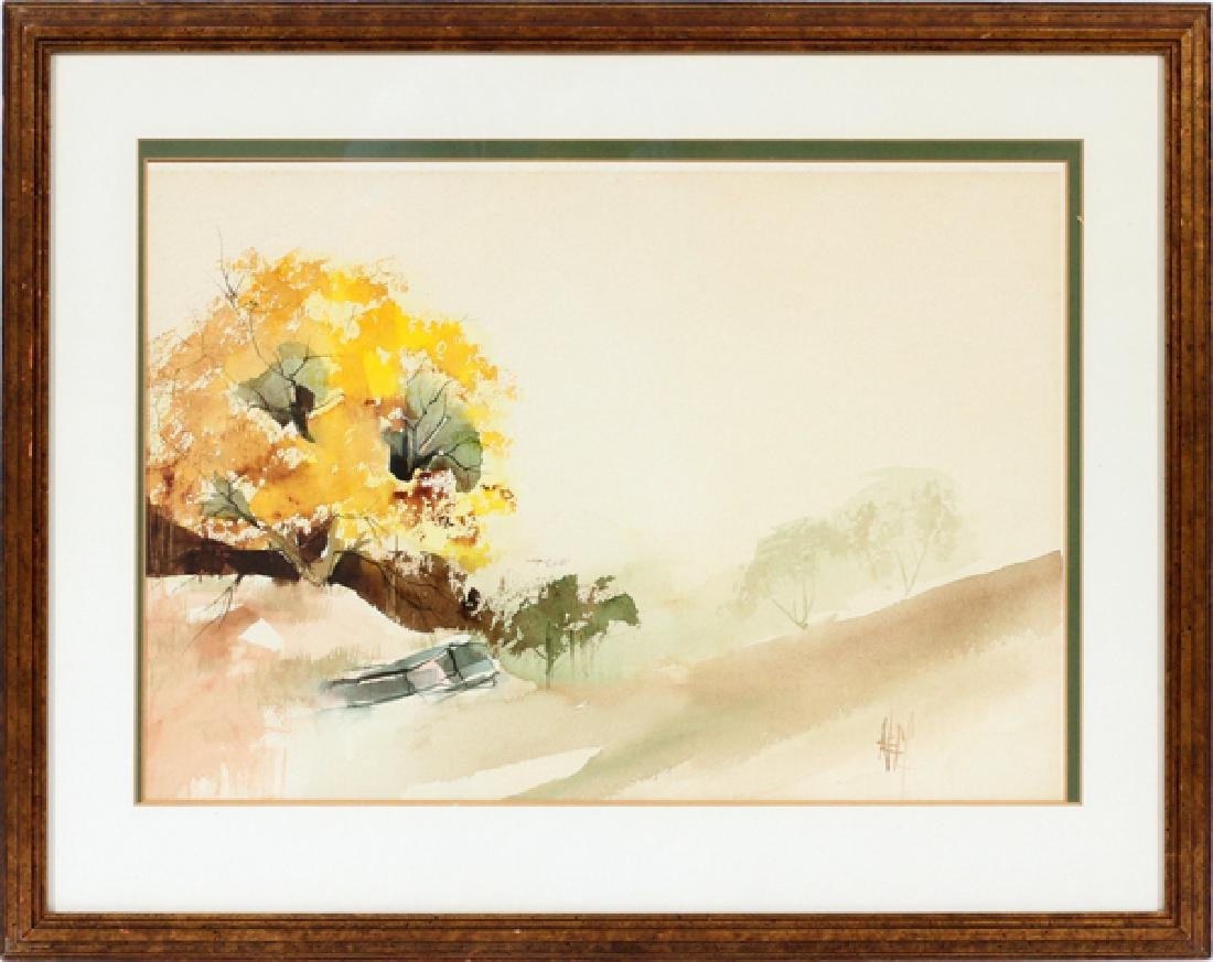 SIGNED NEFF WATERCOLOR ABSTRACT C. LATE 20TH C.