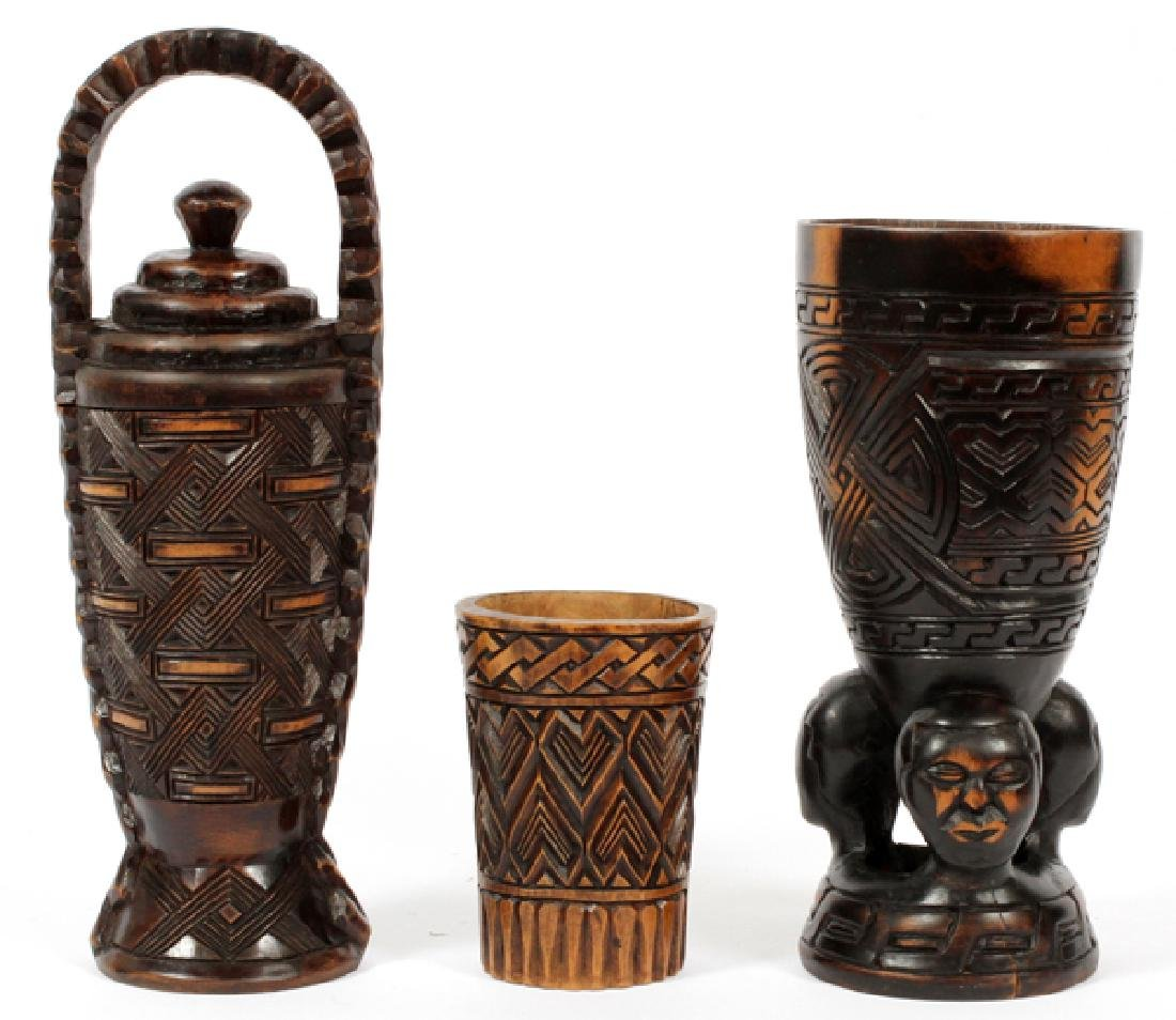 CARVED HARDWOOD CUP & CHALICE 20TH C. 3 PIECES