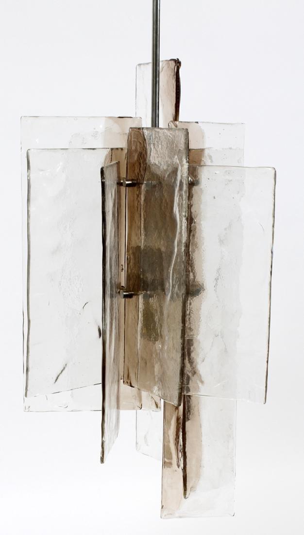 MID CENTURY MODERN GLASS & METAL 4 LIGHT CHANDELIER - 2
