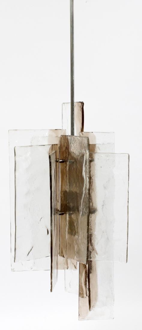 MID CENTURY MODERN GLASS & METAL 4 LIGHT CHANDELIER - 4