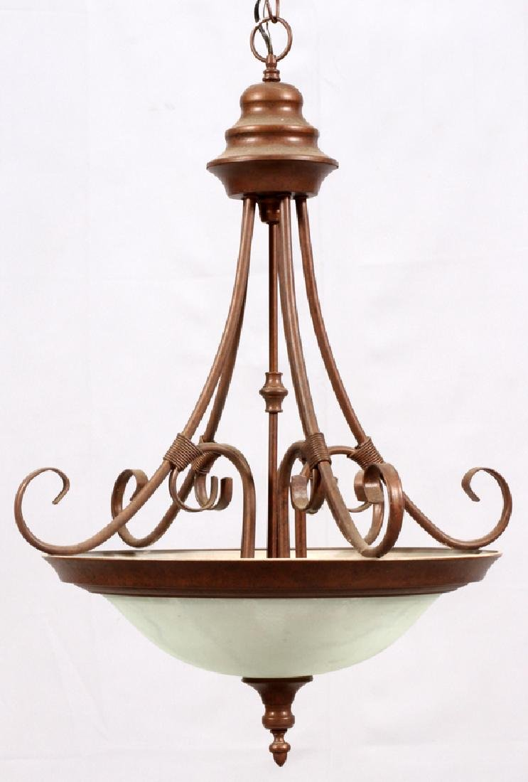 IRON & FROSTED GLASS BOWL CHANDELIER