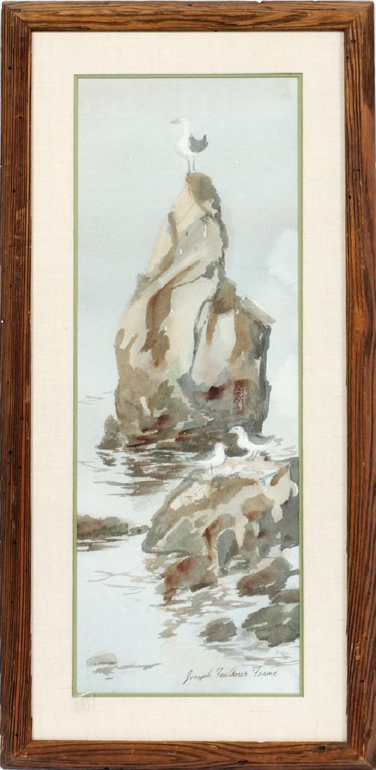 JOSEPH FAULKNER FRAME WATERCOLOR SEAGULL  ON ROCK