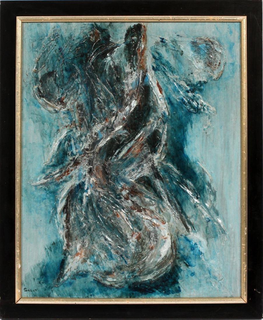 SALLY MODERN OIL ON CANVAS FEMALE FORM IN BLUE