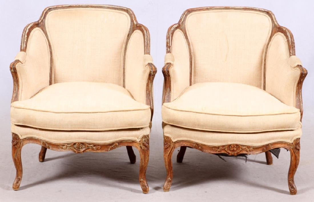 LOUIS XV STYLE CARVED FRAME ARM CHAIRS PAIR
