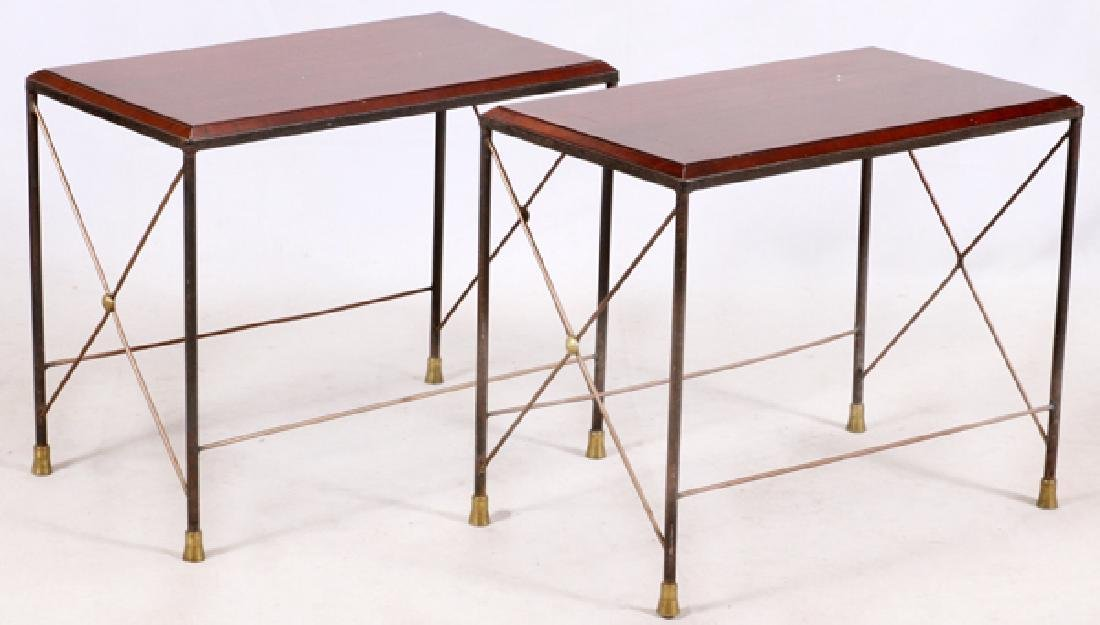 METAL & WOOD END TABLES PAIR