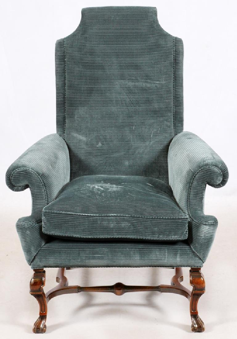 UPHOLSTERED MAHOGANY ARM CHAIR