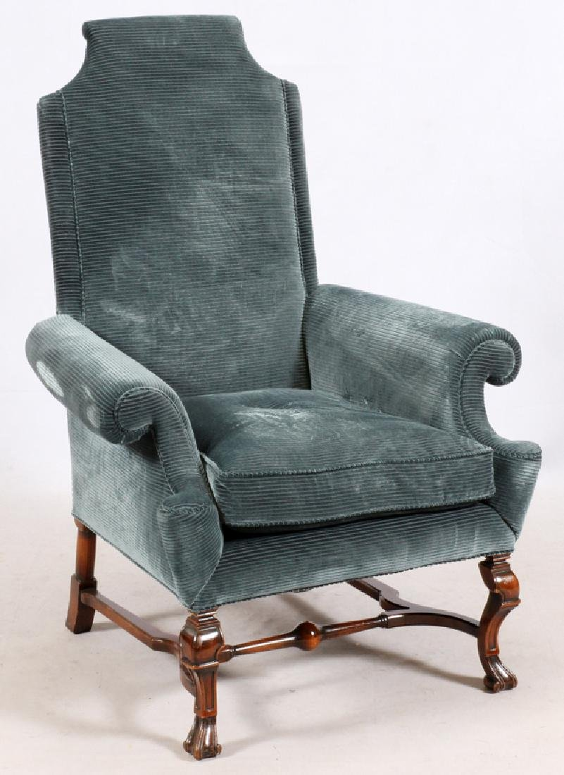 UPHOLSTERED MAHOGANY ARM CHAIR - 2