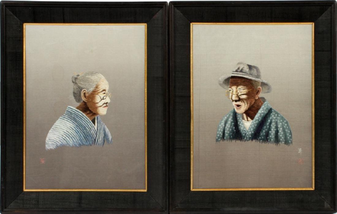 UCHIDA ART JAPANESE EMBROIDERED SILK PORTRAITS PAIR