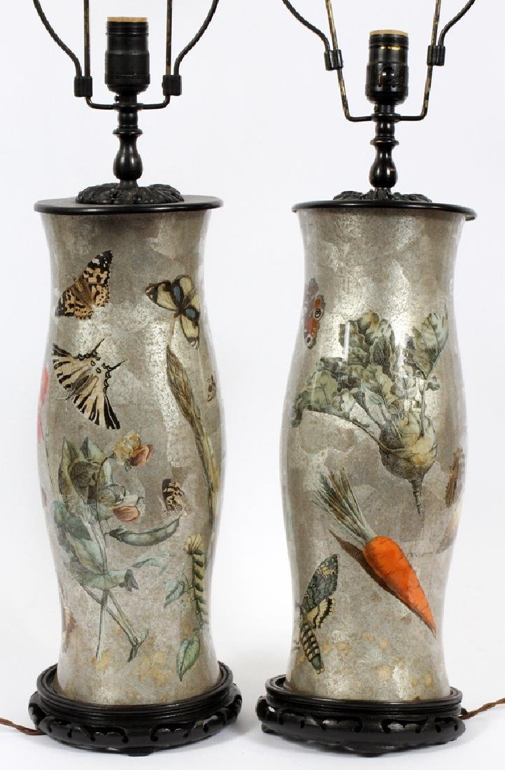 ENGLISH SILVERED GLASS DECOUPAGE LAMPS PAIR