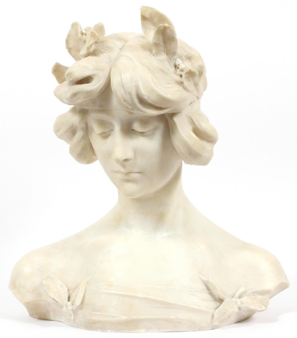 ITALIAN CARVED MARBLE BUST OF A YOUNG GIRL