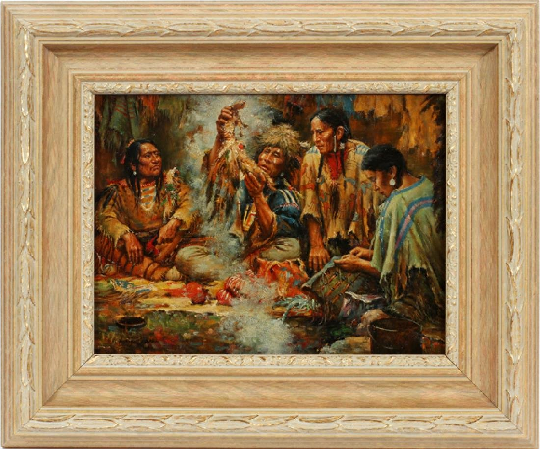 BINGHAM SIGNED OIL ON BOARD SEATED INDIANS