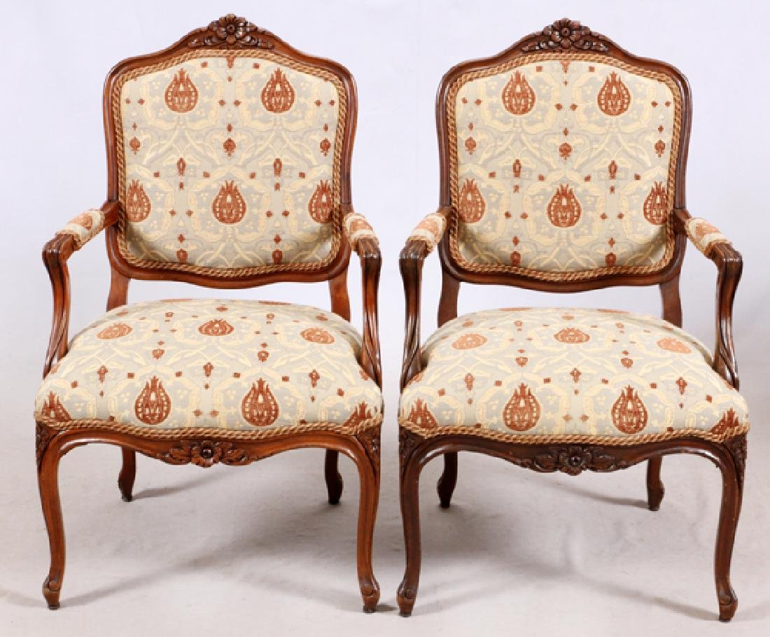 LOUIS XV STYLE WALNUT OPEN ARM CHAIRS