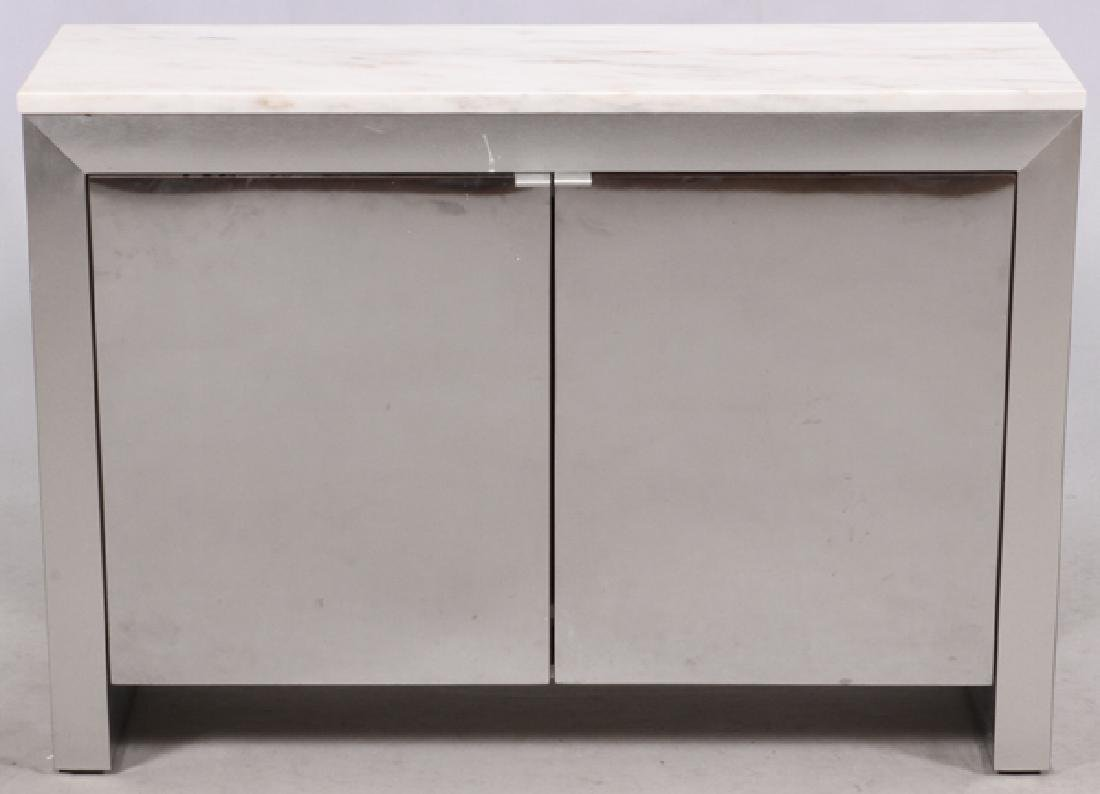 BRUSHED METAL LAMINATE & WHITE MARBLE CONSOLE