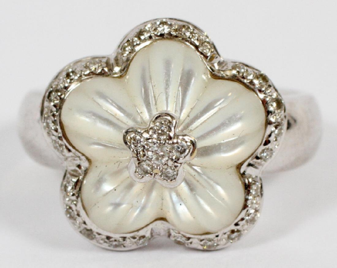 CARVED MOTHER OF PEARL, DIAMOND & GOLD FLOWER RING